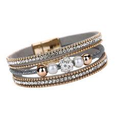 6964c21f7cf2 Mujer Pulsera De Cuero Magnética Brazalete moldeado cristal Bracelet Joyería