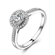 Sterling Silver 925 Pave&Prong Moissanite Round 5mm Engagement Wedding Fine Ring