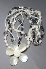 "White & Black Pearl Shell & Quartz Crystal Necklace 3 strand Flower Pendant 26"""