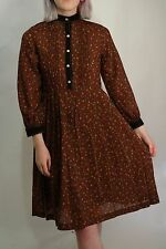 VINTAGE 80'S DOES 40'S BROWN TEA DRESS SIZE 12 TO SMALL 14
