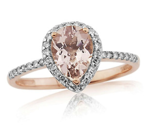 9CT ROSE GOLD MORGANITE & DIAMOND PEAR ENGAGEMENT RING - ALL SIZES - NEW