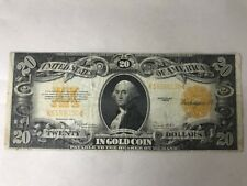 1922 $20 Large Size Gold Certificate, Ungraded in Plastic Sleeve