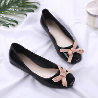 Womens PVC Jelly Flats Square Toe Bow Knot Loafers Casual Slip On Boat Shoes NEW