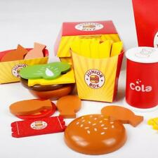 Kids Pretend Play Wooden Fast Food Set - Burger, Fries, Cola & Fish Nuggets