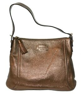 Kate Spade Tassel Hobo Bag Metallic Copper Womens Shoulder Handbag Purse