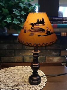 """LOON Cabin Cottage Table Light LAMP SHADE Clip-On Bulb Style 9""""  Rawhide Laced"""