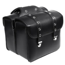 2pcs Black Motorcycle PU Leather Side Saddlebag Luggage Saddle Bag