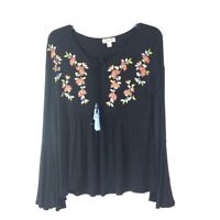 One World Women's Knit Top Embroidered Floral PS Peplum Boho *T