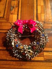Vintage Signed Art Christmas Wreath Brooch Spilla Ghirlanda di Natale