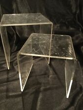 "Display Stand 2 Clear Acrylic Riser Set Showcase 4.5"" & 3.5"""