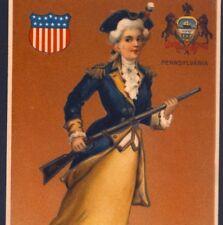 PENNSYLVANIA STATE GIRL...PATRIOT CARRIES GUN,AMERICAN REVOLUTION,OLD POSTCARD