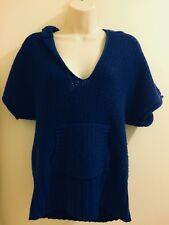 Maurices Hooded Sweater Ladies Size Large Blue Short Sleeve V Neck