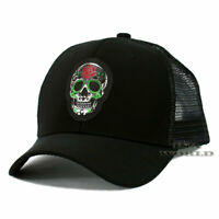 Sugar Skull Hat Day of the Dead Pique Snapback Mesh Baseball Cap- Black