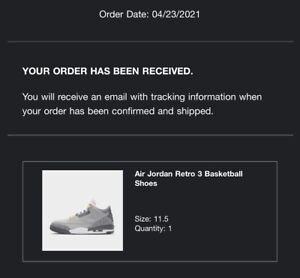 Air Jordan 3 Retro Cool Grey Size 11.5 Men's Confirmed Order!