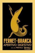 Fernet Branca Alligator Milan Milano Italy Italia Art Print Poster