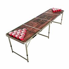 BEER PONG TABLE 8' FOLDING TAILGATE DRINKING GAME CUP HOLES LED LIGHTS #8