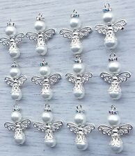 12 GUARDIAN ANGEL CHARMS  30mm APPROX bright silver wings beads rhinestones