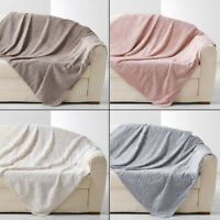 Eloise Embossed Fur Effect Throw Blanket Grey Cream Pink Natural