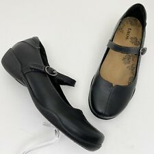 TAOS Ta Dah Black Leather Comfort Mary Jane Flats - Size 7