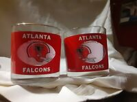 Lot 2 Atlanta Falcons NFL Vintage 70's Houze Art Highball Whiskey Drinking Glass