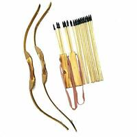 2 Pack - Bow and Arrow Archery Set Handmade Wooden, 20 Wood Arrows and 2 Quivers