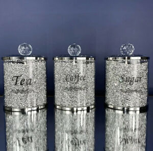 SPARKLE ROMANY SILVER CRUSHED CRYSTAL FILLED TEA COFFEE SUGAR CANISTER JARS UK✨