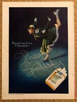 RARE Vintage 1935 color CHESTERFIELD CIGARETTES AD Woman Ice Skating FRAME IT