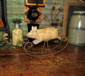 Primitive Antique Vtg Style Country Farm Hog Rock'in Rocking Pig Shelf Sitter