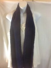 "Cute Woman's Warm Winter CROCHETED Navy Blue Scarf pre-owned 5 1/2"" W x 58"" L"