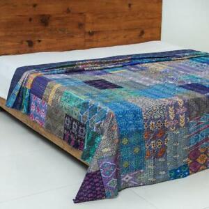 Indian Vintage Silk Patola Saree Patchwork Purple Kantha Quilt Bedspread Blanket