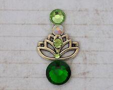 Tribal bindi Emerald Lotus ATS Tribal fusion bellydance Boho Chic face jewelry