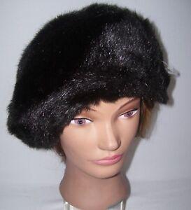 Vintage HATS  Women's Beret Hat Brown Faux Fur