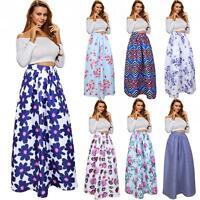African Ankara Skirt Dashiki Gypsy Print High Waist Pleated Boho Long Maxi Dress