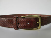 Brighton Womens Lovely Texture Brown Leather Solid Brass Buckle Belt  32 M