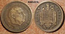 FRANCO moneda de 1 Peseta año 1947*1956. FECHA RARA CIRCULADA. Peso 3,54 gr.