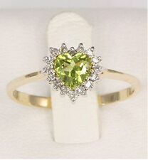 PERIDOT DIAMOND RING. NATURAL PERIDOT + 16 GENUINE DIAMONDS IN SOLID 9K 375 GOLD