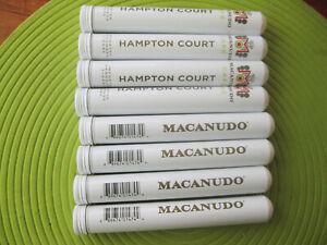 "8 WHITE MACANUDO HAMPTON COURT EMPTY CIGAR TUBES 5 5/8"" LONG CRAFTS STORAGE A"