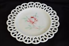 Antique Victorian Atterbury Open Weave Pattern Milk Glass plate w/ Painted Rose