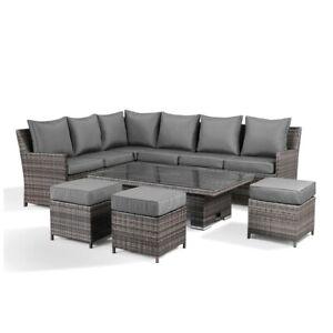 Jasmina Grey Garden Set Corner Sofa with Rising Table and 3 Stools