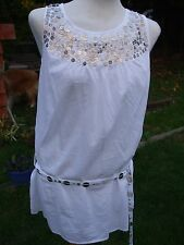 Gorgeous White Cotton / Gold Sequinned Top- RED HERRING- Size 14