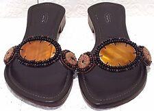 TALBOTS Brown Beaded Slip On Sandal Shoe Womens Size 7