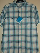 COLUMBIA Outdoors Casual Shirt, Blue - Black PLAID, Men's S, Gold Pine Series