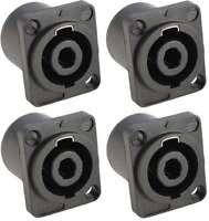 4 x Speaker Einbaukupplung 4-polig, SPKN-Einbau-Kupplungen Einbaubuchse 4-polNEU