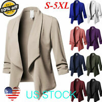 Women Slim OL Suit Casual Blazer Jacket Coat Tops Outwear Long Sleeve Plus Size
