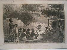 gravure 19° voyage Cook : Vue d'un Moraï ou cimetierre à O-Taïti