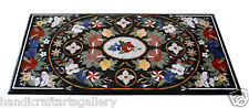 4'x2' Marble Glass Table Top Real Inlaid Mosaic Marquetry Art Handmade Furniture