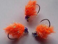 X3 Size 10 Glistening Egg_it Flo Orange Eggstacy Blob fly Fly Fishing, eggstacy.