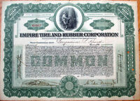 1917 Stock Certificate: 'Empire Tire & Rubber Corporation' - Virginia VA