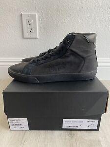 Saint Laurent Men's Classic Court SL06 Distressed Canvas Sneaker Black 42