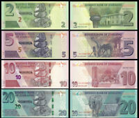 Zimbabwe SET 4 Pcs 2, 5 10 & 20 Dollars 2019-2020 NEW UNC